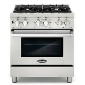 30 3 9 Cu Ft Dual Fuel Gas Range Convection Oven 4 Italian Burners Stainless