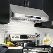 Cosmo 30 Inch Ducted Under Cabinet Range Hood In Stainless Steel Touch Display