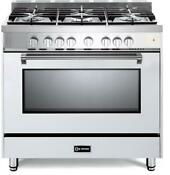 Verona Prestige Series Vpfsgg365w 36 All Gas 5 Burner Range Oven White