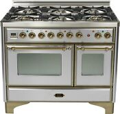 Ilve Umd1006dmpiy Majestic Pro 40 Dual Fuel Double Oven Range Stainless Steel
