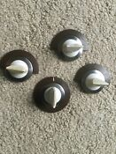 Lot Vintage Range Stove Oven Temperature Control Dial Knob Chrome Brown