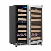 46 Bottles 24 Inch Under Counter Dual Zone Wine Cooler Drinks