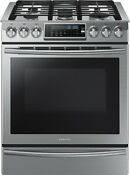 Samsung Nx58h9500ws Slide In Stainless Steel Gas Range With 5 Burners 30 Inch