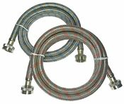 Premium Stainless Steel Washing Machine Hoses 2 Pack Color Coded