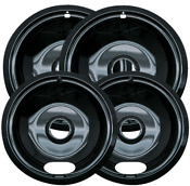 Range Kleen 6 In 2 Small And 8 In 2 Large A Style Drip Pan In Black Porcelain