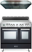 Verona Vefsee365de 36 All Electric Double Oven Range Matte Black Hood Package