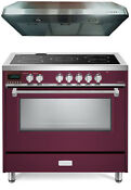 Verona Vdfsee365bu 36 Electric Range Convection Oven Burgundy Hood 2 Pc Set