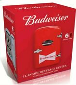 New Collectors Budweiser Portable 6 Can Mini Fridge