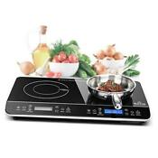 Lcd Portable Double Induction Cooktop 1800w Digital Electric Countertop Burner