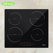 23 Electric Cooktop 4 Burner Induction Stove Built In Touch Control Timer Glass