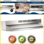 Lights Exhaust Fan Range Hood Kitchen Under Cabinet Ductless Non Vented 30 Inch