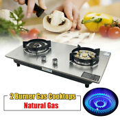 28 Gas Cooktop Stainless Steel Gas Stove Double Burner Cooktop Auto Ignition