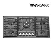 34 5 Burner Stoves Built In Oven Gas Hob Cooktop Black Stainless Steel Cooker
