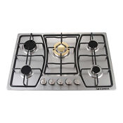 30inch Stainless Steel 5 Burners Built In Fixed Gas Cooktop Gold Burners Cooker