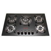 Windmax 30inch 5 Burners Black Tempered Glass Built In Cooktop Natural Gas Hob