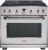 Monogram 36 Stainless Steel Natural Gas 6 Burner Dual Fuel Range Zdp366npgs