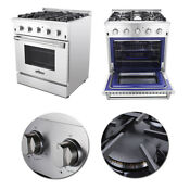 30 Professional Gas Range Oven 4 Burner Stainless Steel Automatic Re Ignition Us