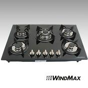 30inch Built In 5 Burners Gas Cooktop Lpg Ng Gas Hob Black Tempered Glass