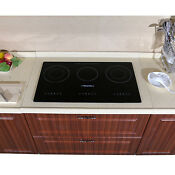 29 5 3 Burners Electric Induction Hob Cooktops Black Glass Plate Smooth Surface