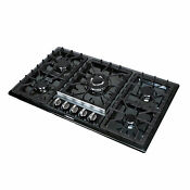 34 Black Titanium Stainless Steel 5 Burner Built In Stoves Gas Cooktop Cooker