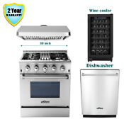 30 Thor Kitchen Dual Fuel Gas Range Stove Range Hood Dishwasher Wine Cooler