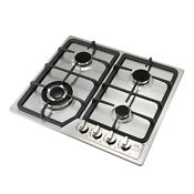 23 Stainless Steel Gas Cooktop 4 Burners Built In Fix Gas Hob Battery Ignition