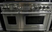 Wolf 48 Double Oven 6 Burners W Griddle Stainless Steel Dual Fuel Range Df486g