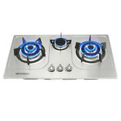 30 Stainless Steel 3 Burners Built In 3000w 1750w Cooktop Ng Gas Cooker Usa