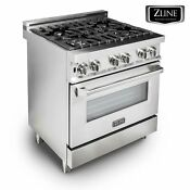 Zline 30 Professional Stainless Steel 4 0 Cu Ft 4 Gas On Gas Oven Range Rg30