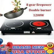 110v 2400w Electric Double Induction Cooker Cooktop Countertop Burner 8 Levels