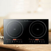 Portable Electric Dual Induction Cooker Cooktop 2400w Countertop Double Burners