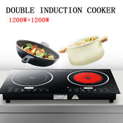 Electric Dual Induction Multiple Cooker Cooktop 2400w Countertop Double Burner