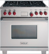 Wolf Df366 36 Stainless Steel 6 Burner Dual Fuel Convection Oven Range