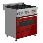 Zline 30 Gas On Gas Range Oven Stainless Steel Red Gloss Door Rg Rg 30
