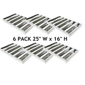 6x Commercial Kitchen Stainless Steel Exhaust Hood Vent Grease Filters 5 Grooves