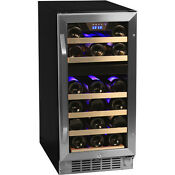 Built In Dual Zone Stainless Steel Wine Refrigerator Compact Mini Fridge Cooler