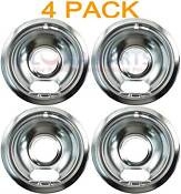 4 Pack Whirlpool Stove Range Cooktop 6 Burner Chrome Drip Pan Bowl 19950015
