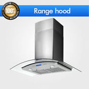 30 Control Panel Wall Mount Range Hood Steel Tempered Glass Kitchen Stainless