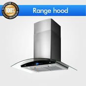 Kitchen 30 Range Hood Panel Wall Mount Tempered Glass Stainless Black Steel Led