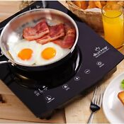 1800w Portable Sensor Touch Induction Cooktop Countertop Burner Black With Timer