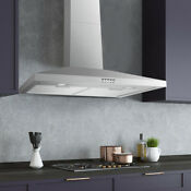 30 Range Hood Wall Mount Stainless Steel Touch Pad Led Timer Clock Stove Vent