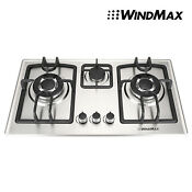 28inch Stainless Steel 3 Burners Built In Gas Cooktop Lpg Ng Gas Hob Cooker