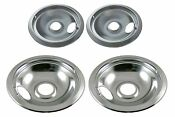 Stove Electric Drip Pans For Ge Hotpoint Burner 2x6 2x8 Speeds Cooking Chrome