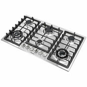 34inch Stainless Steel 6 Burners Built In Stoves Lpg Ng Gas Cooktops Cooker