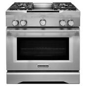 36 Kitchenaid 5 1 Cu Ft Stainless Steel Dual Fuel Gas Range Kdrs463vss