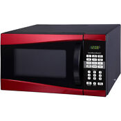 Hamilton 0 9 Cu Ft 900w Microwave Red 1 Touch Cooking Features Safety Lock