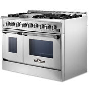 Thor Kitchen 48 Inch Professional Stainless Steel Gas Range With 6 Burners Hrg