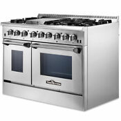 48 Inch Professional Stainless Steel Gas Range With 6 Burners 2 Ovens Csa Appr