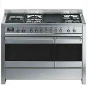 Smeg A3xu7 48 Inch Freestanding Duel Fuel Range With Electric Grill