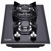 12 Inch Gas Cooktop 2 Burners Lpg Ng Dual Fuel Edge Tempered Glass 110v Ac